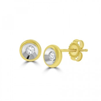 18ct Gold Full Moon Diamond Stud Earrings