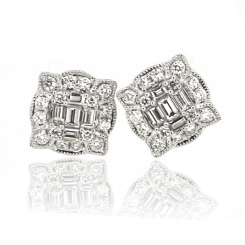 18ct White Gold Baguette Diamond Cluster Stud Earrings
