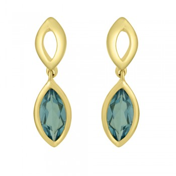 9ct Yellow Gold Blue Topaz Marquise Drop Earrings