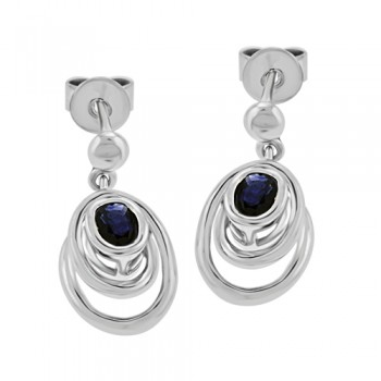 9ct White Gold Sapphire Drop Earrings