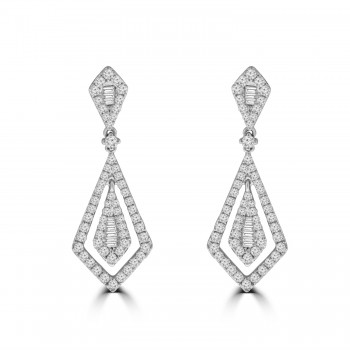 18ct White Gold Baguette Diamond Kite-shaped Drop Earrings