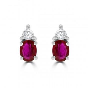 18ct White Gold Ruby & Diamond Stud Earrings