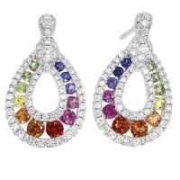 18ct White Gold Rainbow Sapphire Diamond Drop Earrings