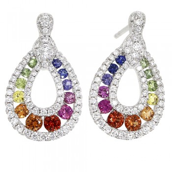 18ct White Gold Rainbow Sapphire Diamond Drop Earrings