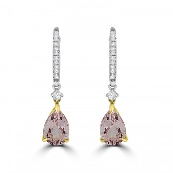 18ct White & Rose Gold Morganite & Diamond Pear Drop Earrings