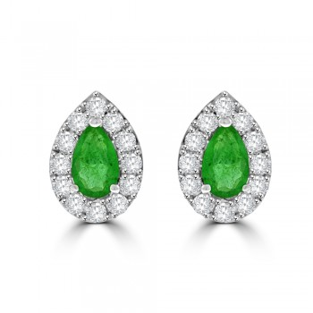 18ct White Gold Emerald Pear Halo Stud Earrings