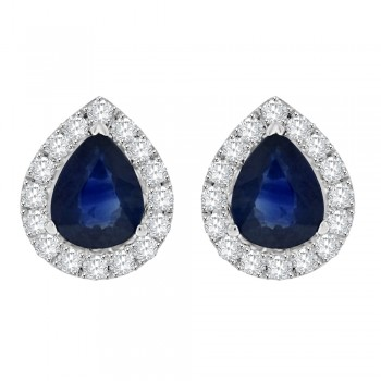 18ct White Gold Pear Sapphire Diamond Halo Stud Earrings