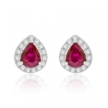 18ct White Gold Ruby Diamond Halo Stud Earrings