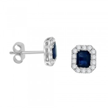18ct White Gold Emerald cut Sapphire Diamond Halo Stud Earrings