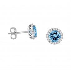 18ct White Gold Aquamarine Diamond Halo Stud Earrings