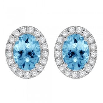 18ct White Gold Oval Aquamarine Diamond Halo Stud Earrings