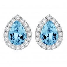 18ct White Gold Pear Aquamarine Diamond Halo Stud Earrings