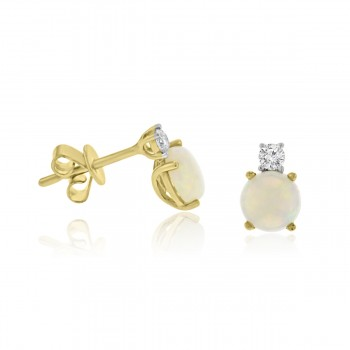 18ct Gold Opal & Diamond Stud Earrings