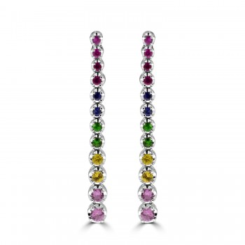 18ct White Gold Rainbow Sapphire & Ruby Drop Earrings