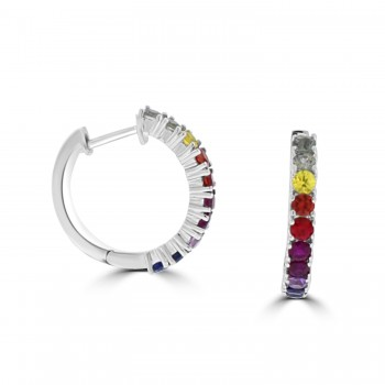 18ct White Gold Rainbow Sapphire and Ruby Hoop Earrings
