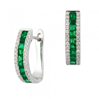 18ct White Gold Three-row Emerald & Diamond Hoop Earrings