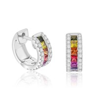 18ct White Gold Rainbow Sapphire & Diamond Hoop Earrings