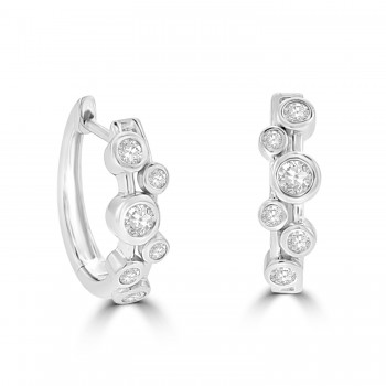18ct White Gold Bubble Diamond Huggy Hoop Earrings