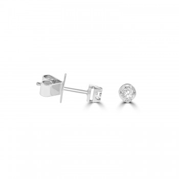 18ct White Gold Solitaire .18ct Diamond Stud Earrings
