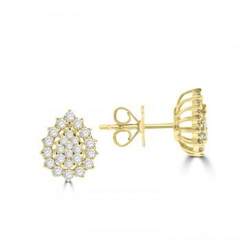 18ct Gold Pear Cluster Diamond Halo Stud Earrings