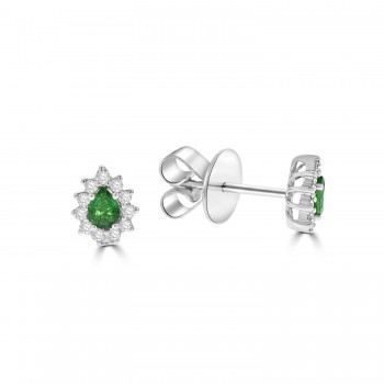 18ct White Gold Pear Emerald and Diamond Stud Earrings