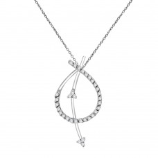 18ct White Gold Diamond Strikethrough Pendant Chain