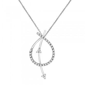 18ct White Gold Diamond Strikethrough Pendant Chain