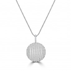 18ct White Gold Diamond Disc Pendant