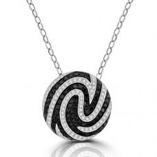 18ct White Gold Black & White Diamond Swirl Pendant