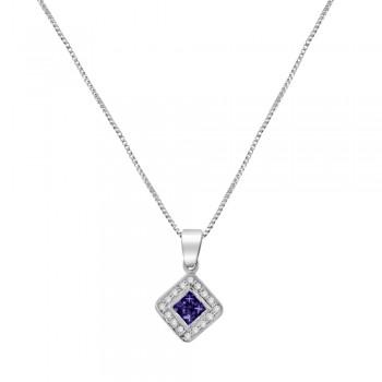 18ct White Gold Amethyst & Diamond Cluster Pendant