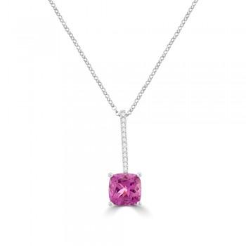 18ct White Gold Pink Tourmaline & Diamond Pendant Chain