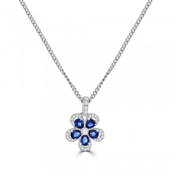 18ct White Gold Sapphire & Diamond Flower Pendant