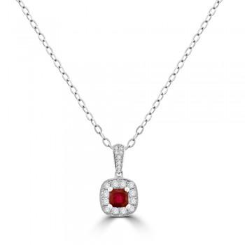 18ct White Gold Ruby Diamond Cushion Halo Pendant