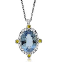 18ct White Gold Aqua & Yellow Diamond Pendant Chain