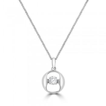 18ct White Gold Diamond Floating Pendant Chain