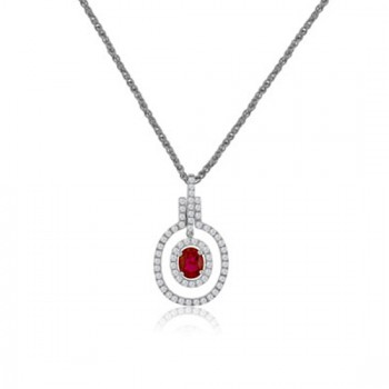 18ct White Gold Ruby & Double Diamond Halo Pendant