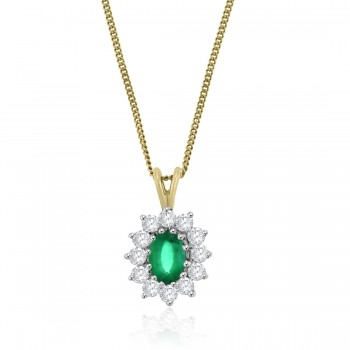 18ct Gold Emerald and Diamond Oval cluster Pendant