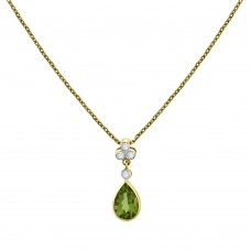 18ct Gold Peridot & Diamond Pear Drop Pendant