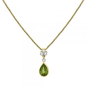 18ct Gold Peridot & Diamond Pear Drop Pendant