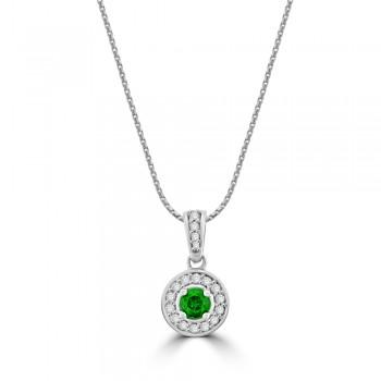 18ct White Gold Emerald Diamond Halo Pendant