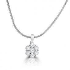 18ct White Gold Diamond Flower Cluster Pendant