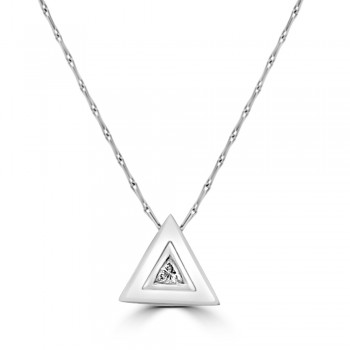 18ct White Gold Trillion Diamond Pendant Chain