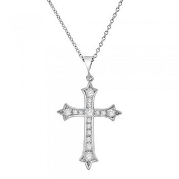 18ct White Gold Diamond Apostles Cross Pendant Chain