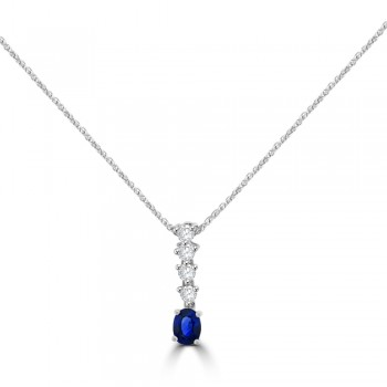 18ct White Gold Sapphire & Diamond Drop Pendant Chain