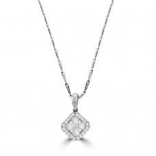 18ct White Gold Diamond Square Cluster Halo Pendant