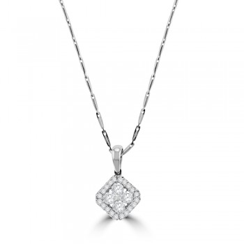 18ct White Gold Diamond Square Cluster Halo Pendant