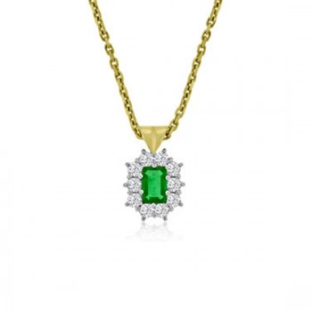 18ct Gold Emerald cut .68ct Emerald Diamond Cluster Pendant