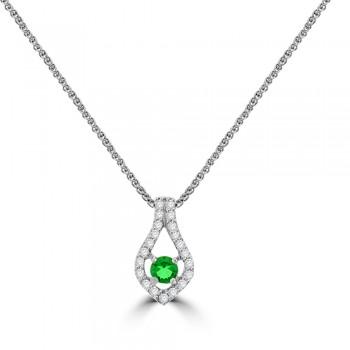 18ct White Gold Emerald & Diamond Pendant Chain