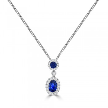 18ct White Gold Sapphire & Diamond Double Halo Pendant