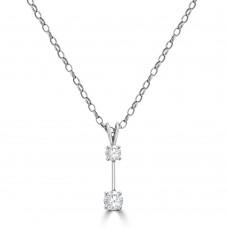 18ct White Gold Two Diamond Drop Pendant